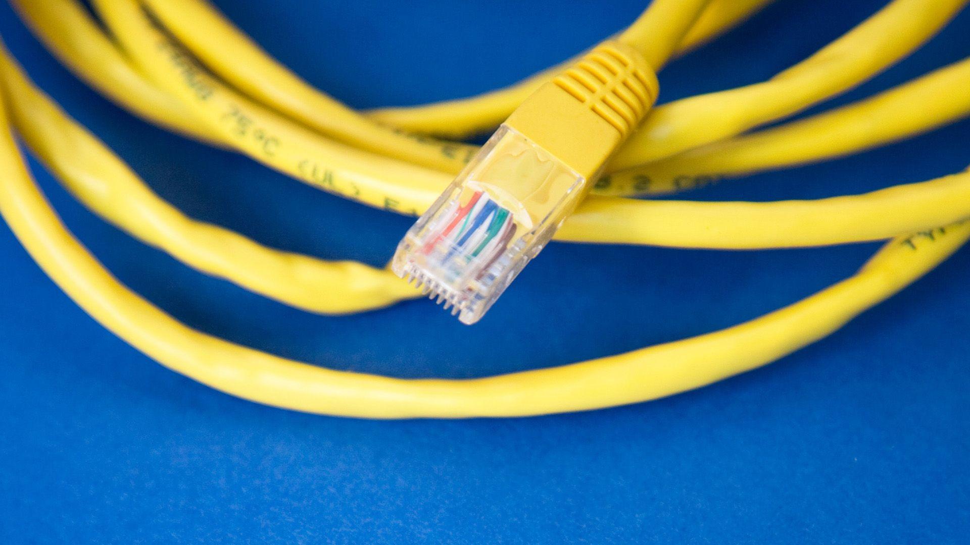 Bile av en krøllet gul internettkabel på blå bakgrunn. Illustrasjon til sak om innholdsproduksjon for markedføringsbyrået Elg.
